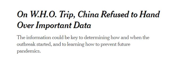 """美媒称""""中国阻碍调查进程"""",世卫专家:无耻"""