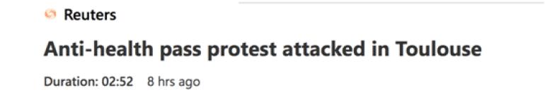 """打起来了!法国图卢兹爆发反""""健康通行证""""抗议,示威者与戴口罩者互殴"""