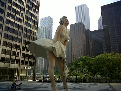 Marilyn Outside the Chicago Tribune Building on Michigan Ave.