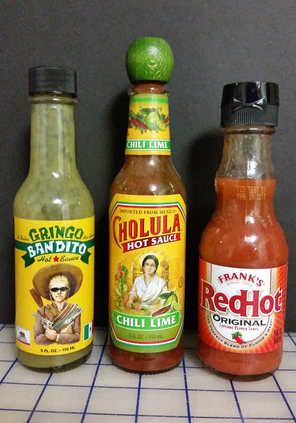Gringo Bandito , Cholula Chili Lime and Frank's Red Hot Original Hot Sauces