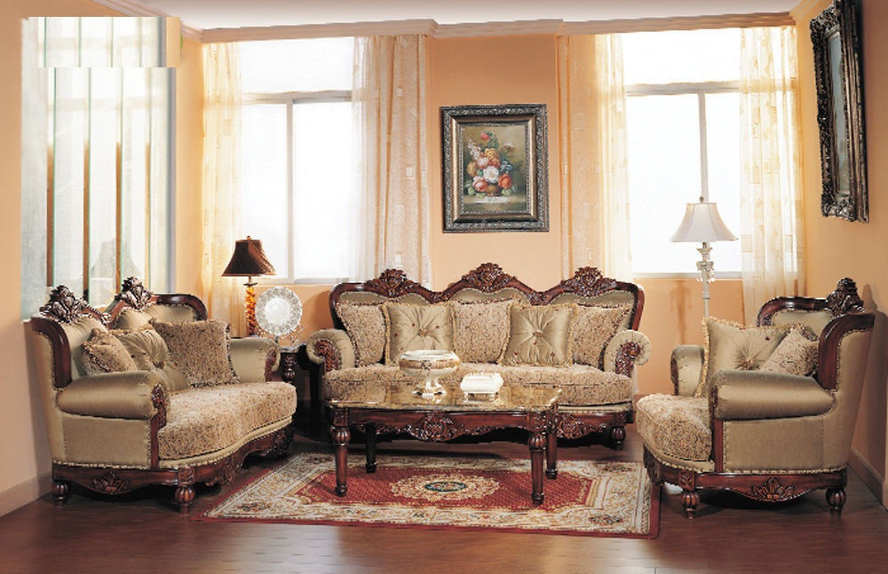 Formal Traditional Cherry Fabric Sofa Set Chair