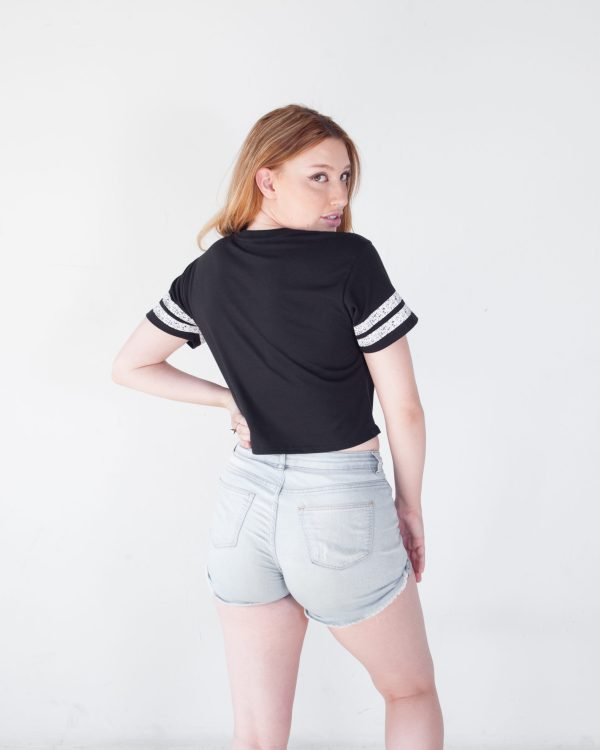 Hotshots Women's Cropped Tee- Black With Striped Sleeves