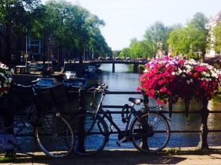 View from Ceintuurbaan on canal De Pijp Amsterdam