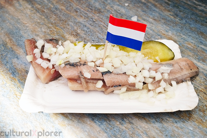 Dutch herring with onions on Albert Cuyp market