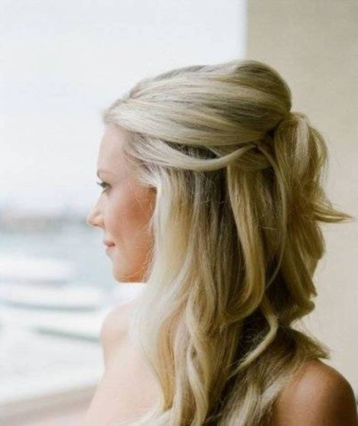 half-up-hairstyles-for-weddings-bridesmaid-with-long-hair