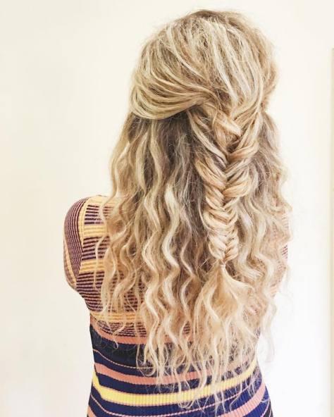 Fishtail Half Ponytail Hairstyle