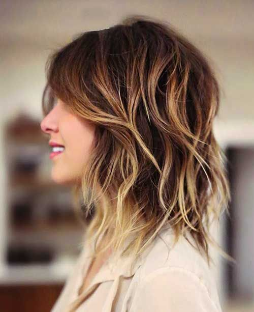 Ombre Medium Layered Haircut