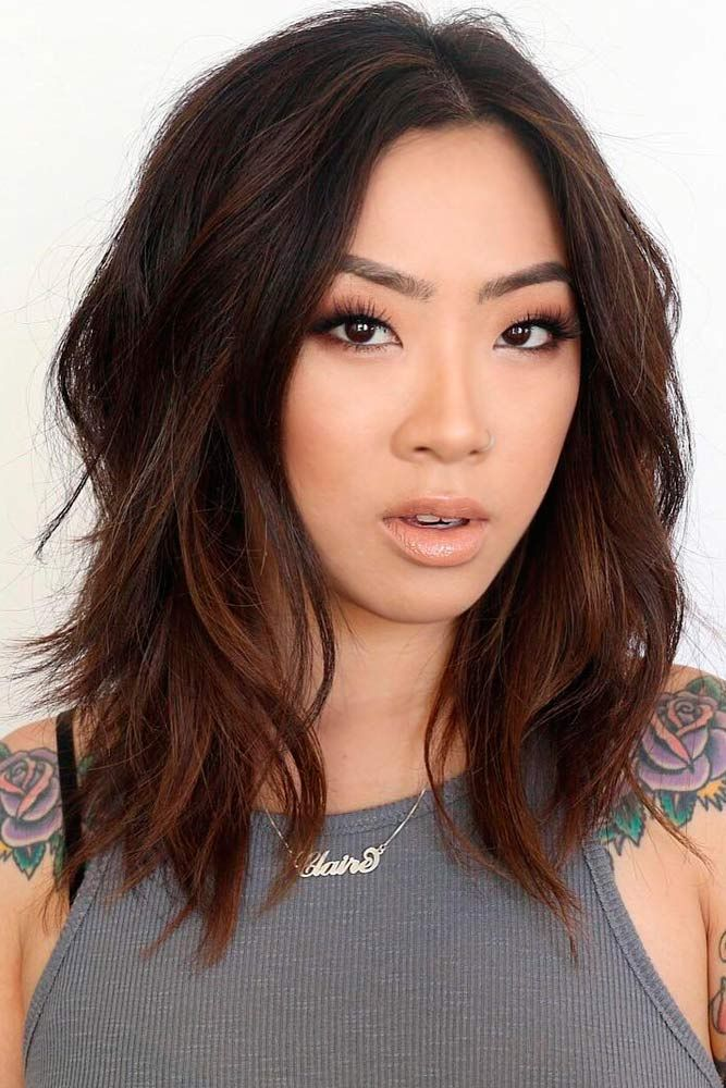 Shoulder Length Brown Bob Haircut with Layers