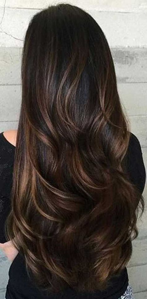 Long Layered Hair with Highlights