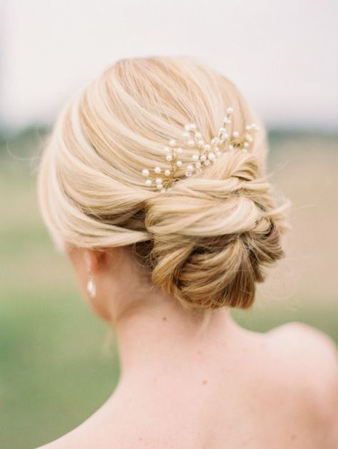 Lower Updo for Wedding with Accessories