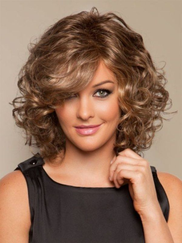 Medium Curly Feather Hairstyle