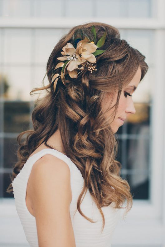 Long Curls with Flower Headpin