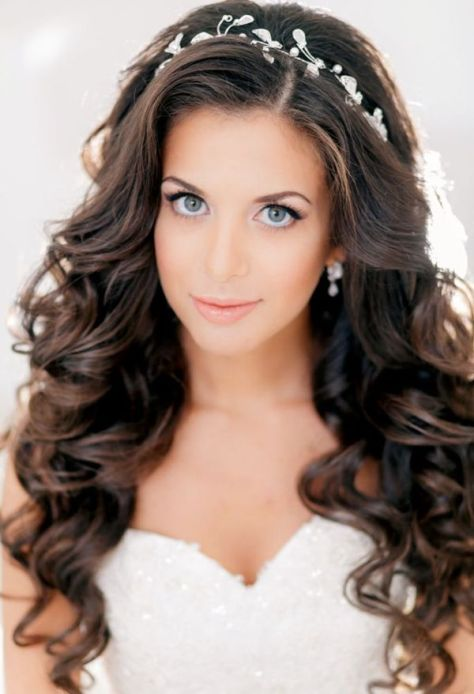 Long Curly Brunette Hair with Headband