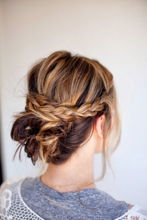 Braided Mid Low Updo