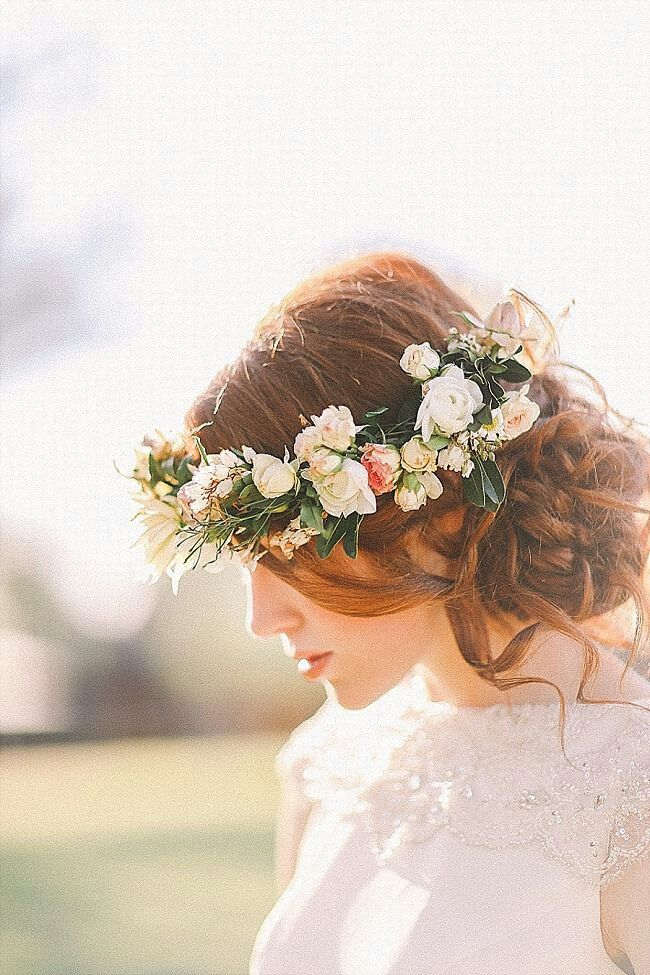 Bohemian Undone Updo with Pastel Flowers