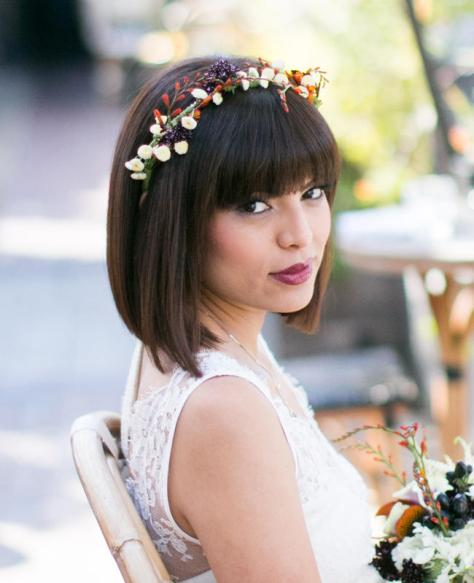 Bridal Bob Hair with Flower Crown