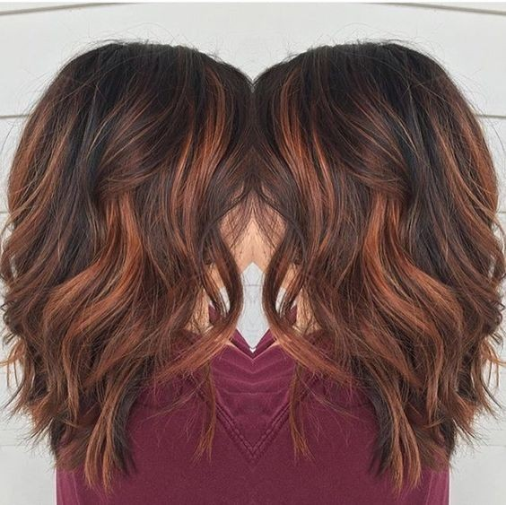 Copper Balayage Medium Wavy Hair