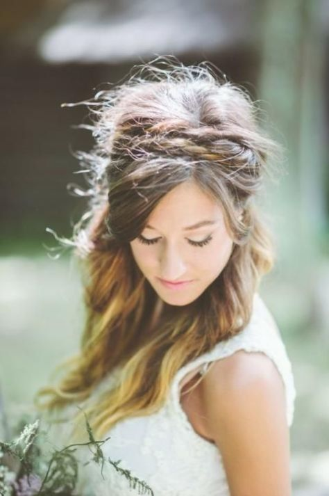 Half Up Half Down Wedding Hair with Braided Headband