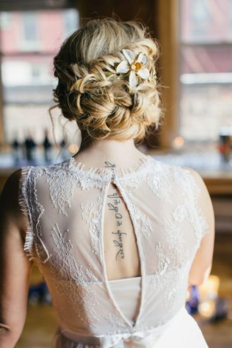 Messy Twisted Updo with Faux Flower