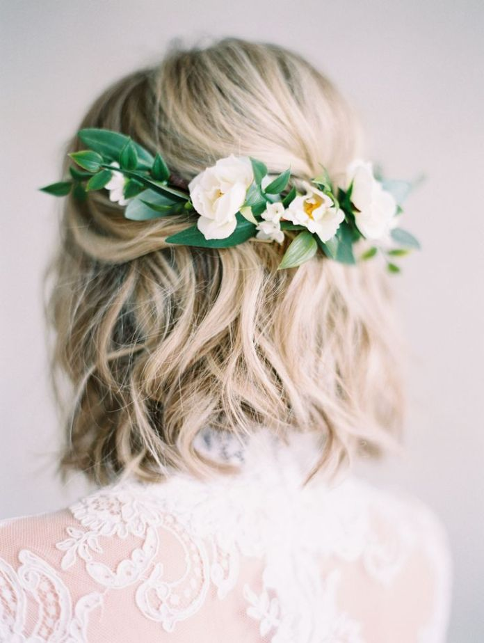 Short Wedding Hairstyle with Flowers