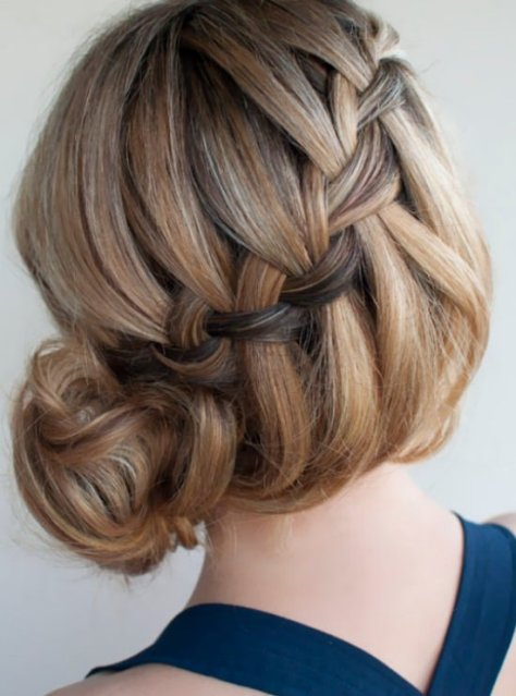 Side Bun Twined with a Braid