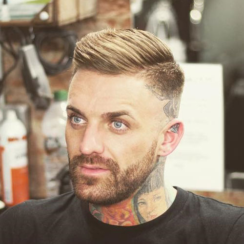 Side Part with High Bald Fade