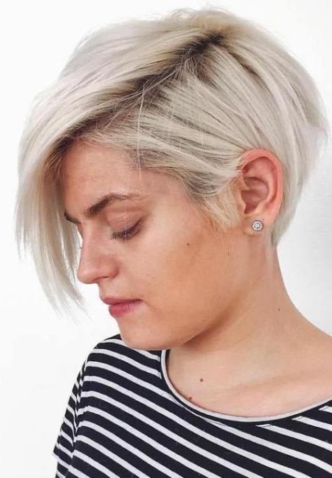 Side Parted Blonde Pixie Bob