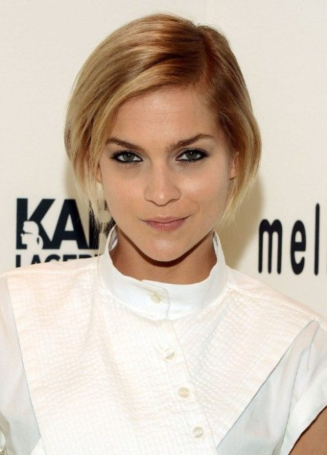 Side Swept Blonde Bob