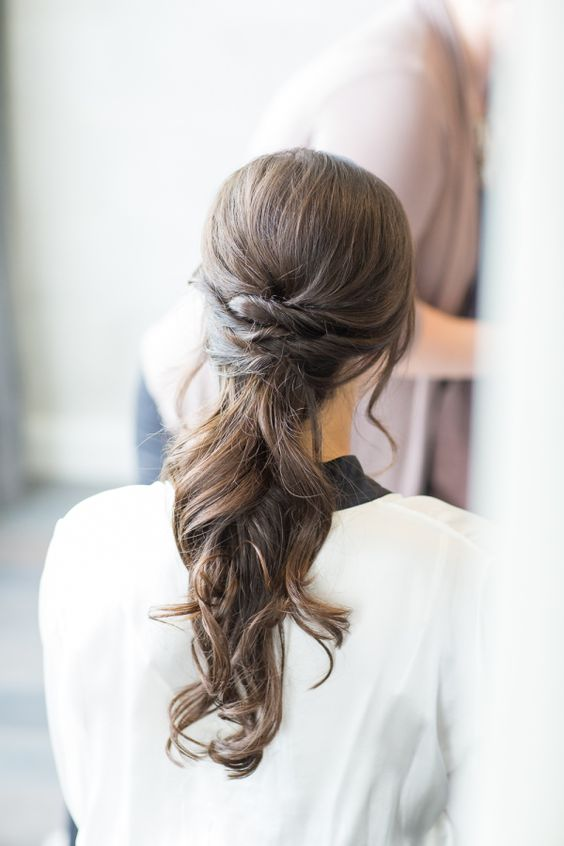 Twisted Low Ponytail with Curls
