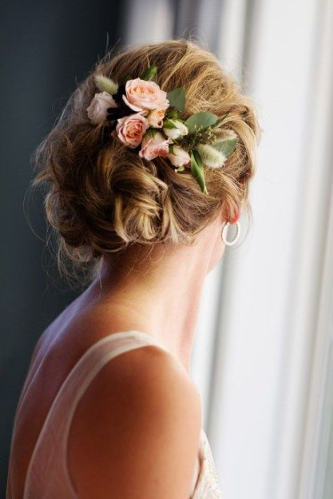 Twisted Wedding Updo with Blush Flowers