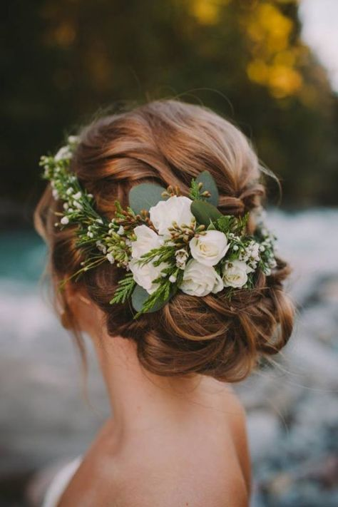 Updo Wedding Hairstyles with Flowers