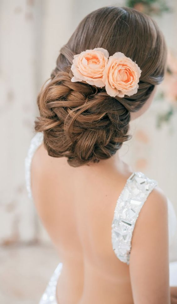 Updo with Peach Hued Blooms