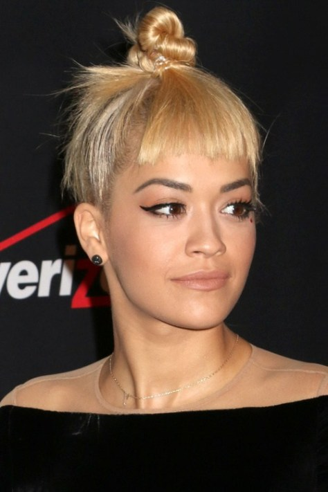 Topknot with Blunt Bangs
