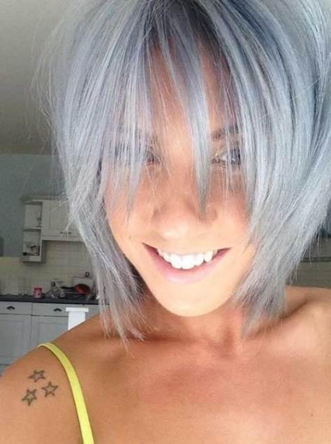 Pastel Grey Bob for Thin Hair