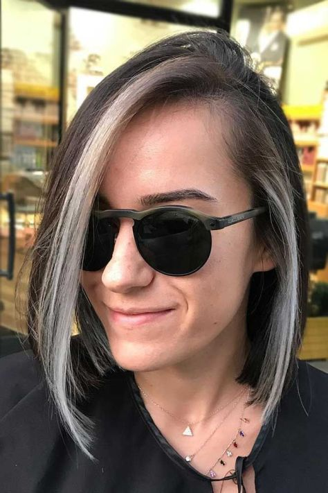 Straight Lob with Grey Highlights