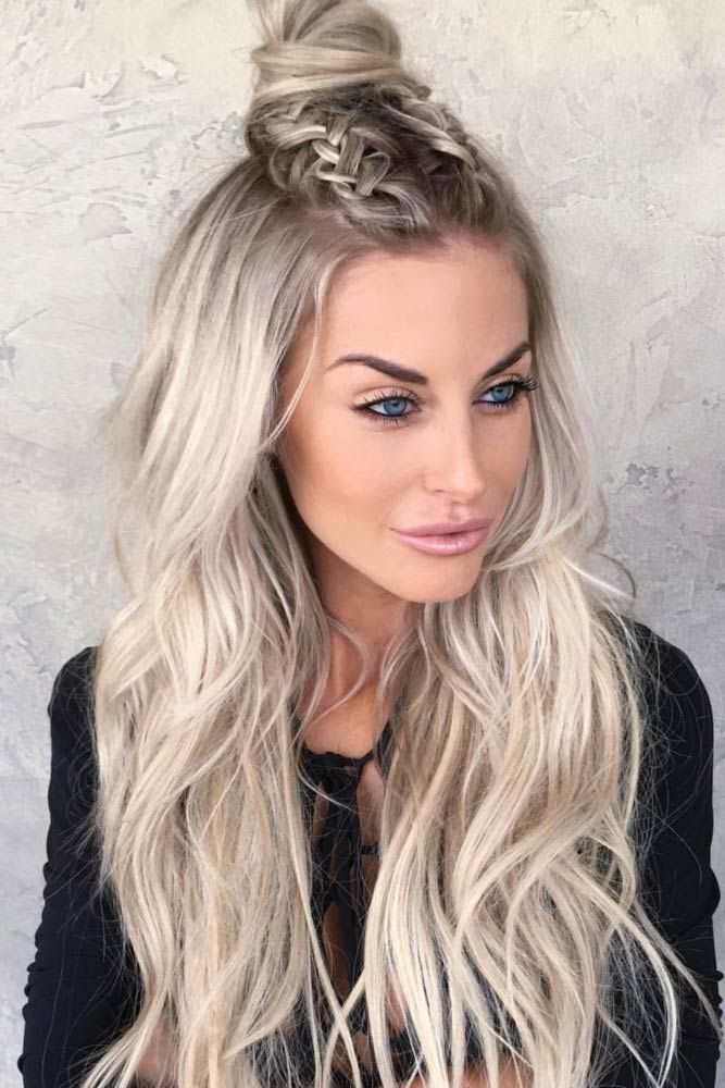 Platinum Blonde Wavy Hair with Dual Braids and Bun