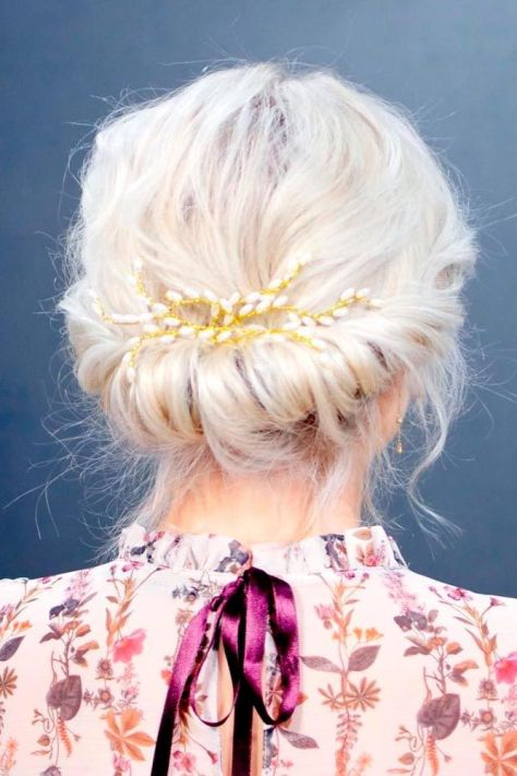 Short Hair Updo with Accessories