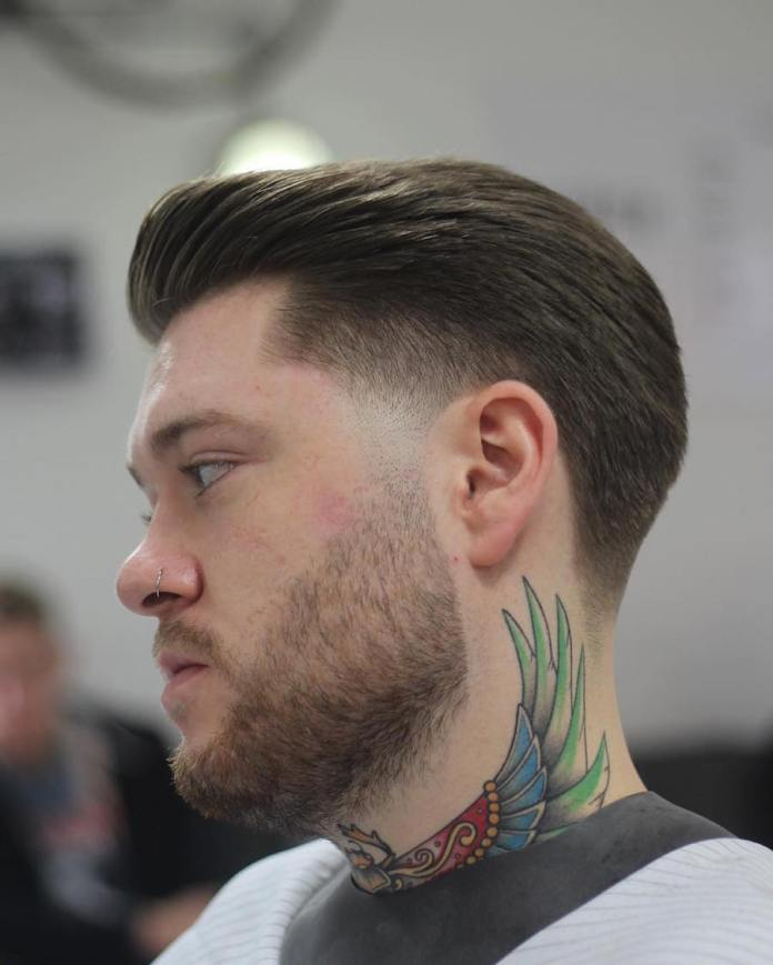 Slicked Back with Taper Fade
