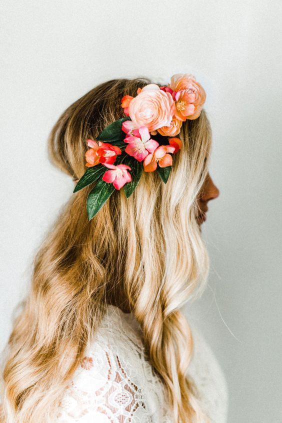 Long Wavy Hair with Flower Crown