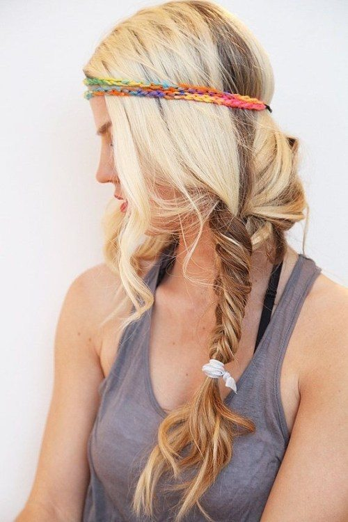 Blonde Balayage Hair with Rainbow Color Headband