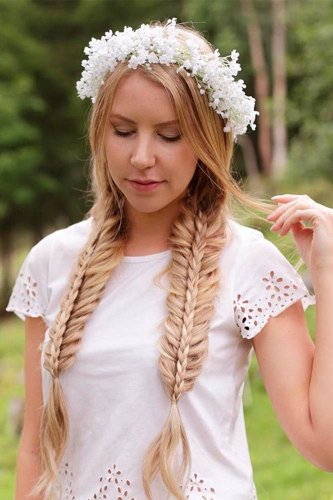 Pigtail Fishtail Braids with Floral Crown