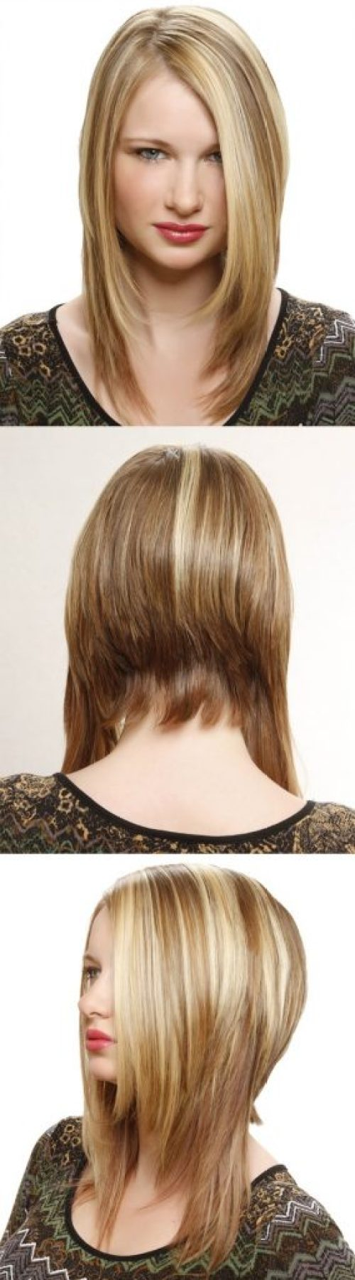 Side Parted Medium Blonde Straight Hairstyle