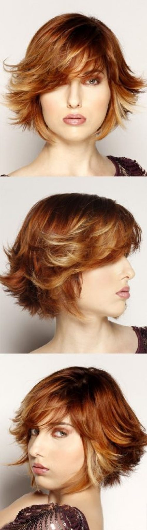 Straight Ombre Hairstyle with Side Swept Bangs