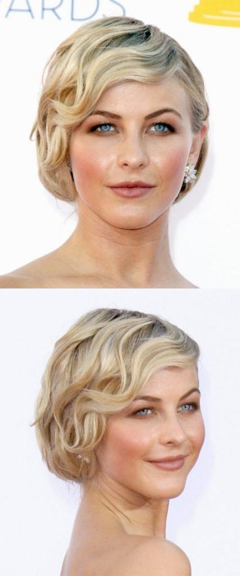 Side Swept Short Wavy Blonde Hair