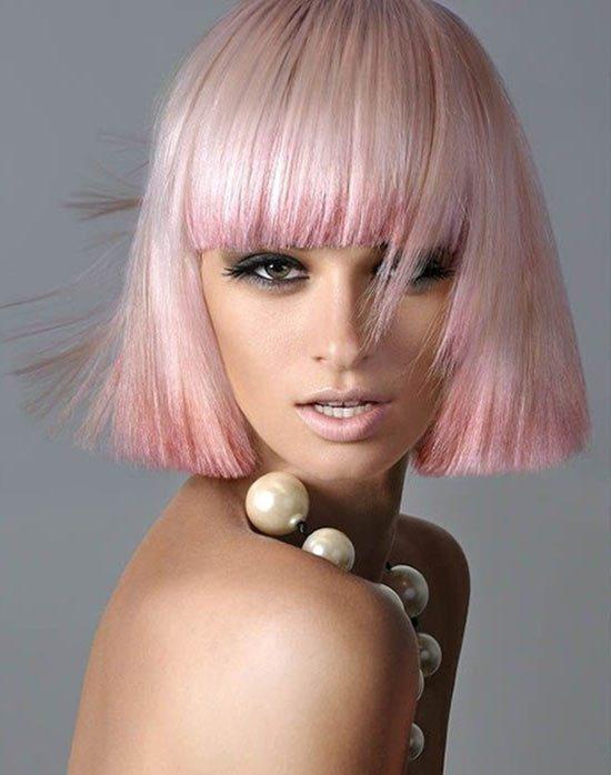 Pastel Pink Blunt Bob