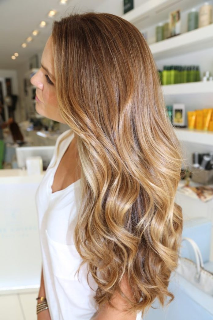 Soft Caramel Highlight on Blonde Hair