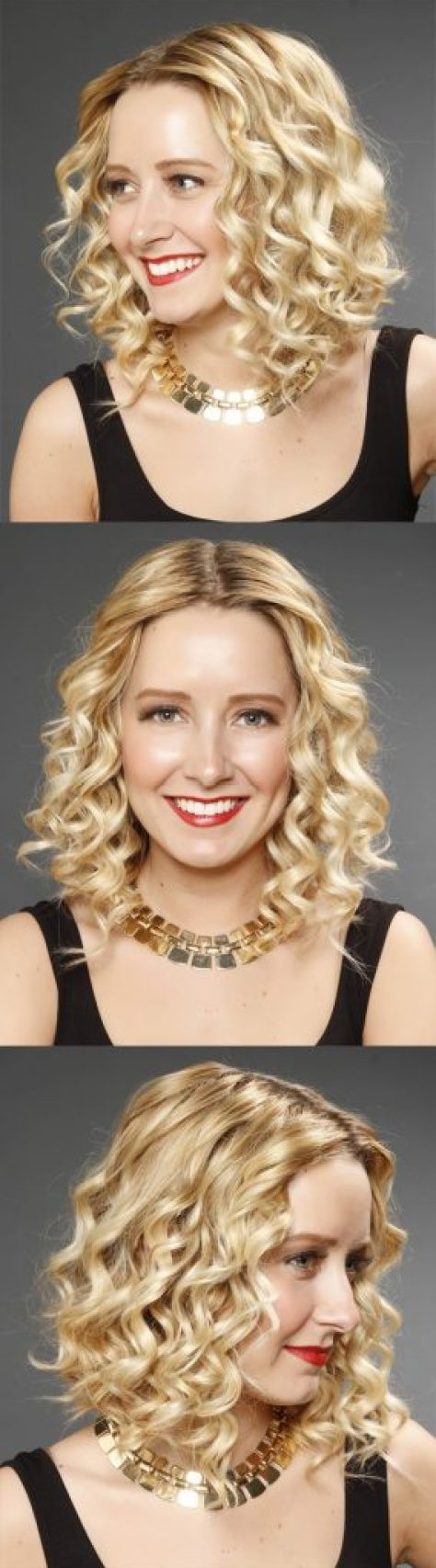 Center Parted Blonde Hair with Curls