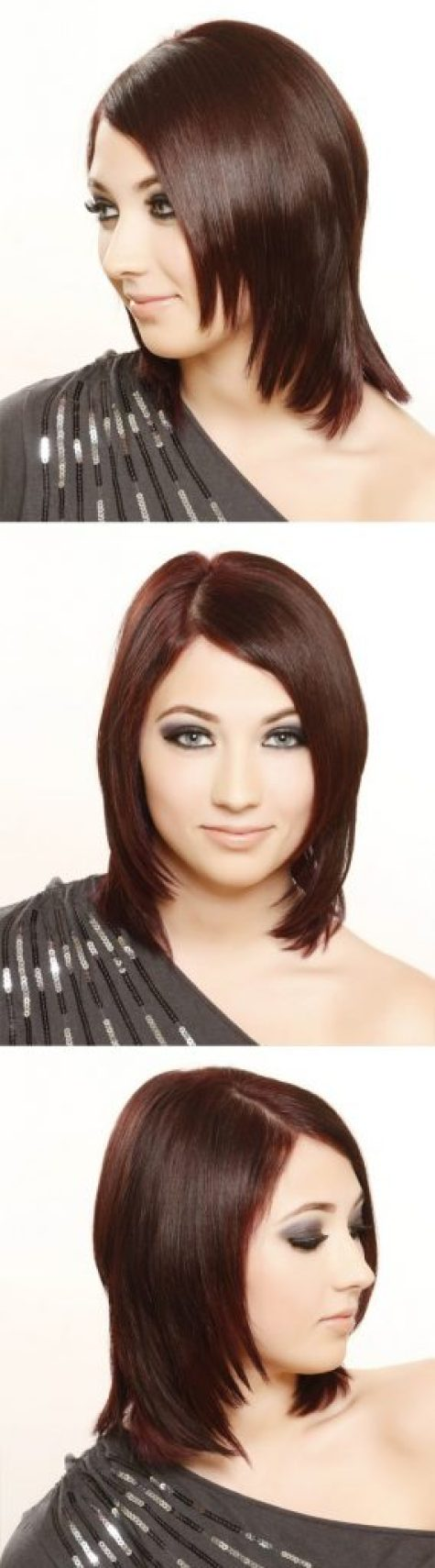 Side Swept Dark Red Medium Straight Hair