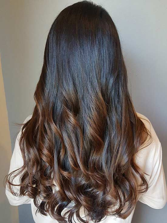 Long Hairstyle with Caramel Highlights