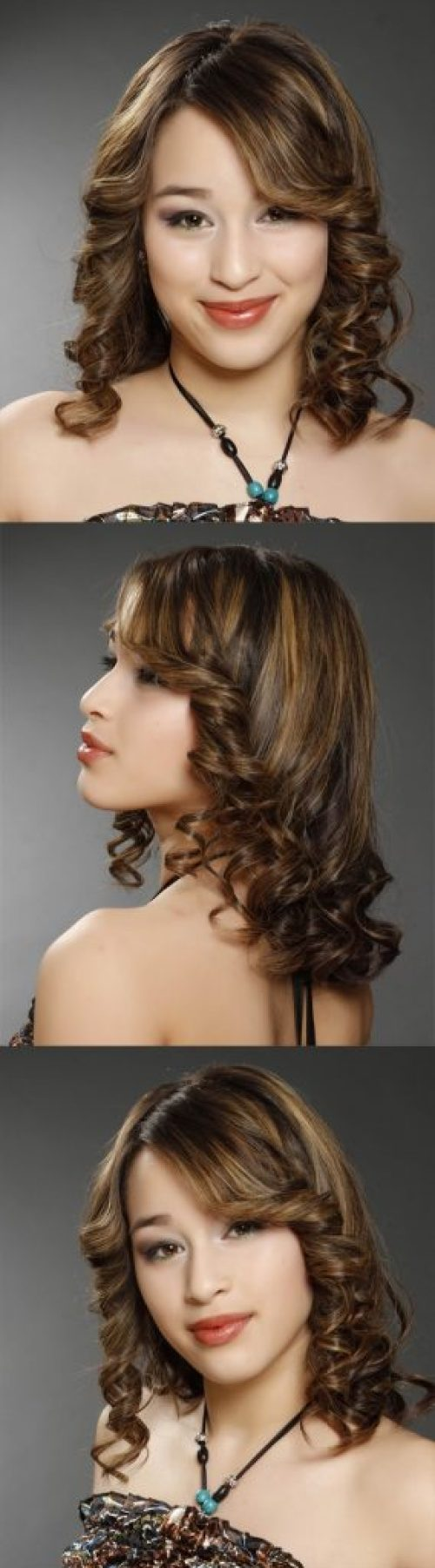 Highlighted Side Parted Medium Hair with Curls